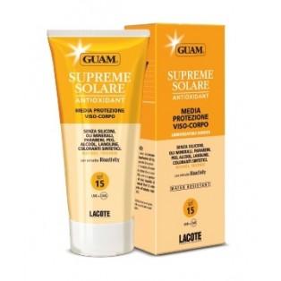 Солнцезащитный крем  c антиоксидантным действием SPF 15 GUAM SUPREME SOLARE CREMA VISO-CORPO MEDIA PROTEZIONE SPF15
