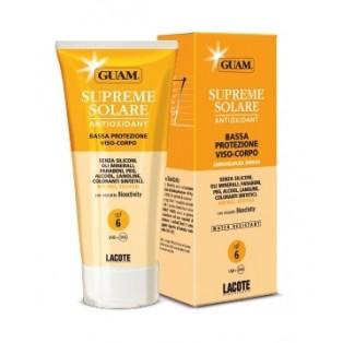 Солнцезащитный крем c антиоксидантным действием SPF 6 GUAM SUPREME SOLARE CREMA VISO-CORPO BASSA PROTEZIONE  SPF 6